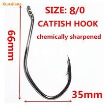 50pcs 8/0 High Carbon Steel Sharpened Catfish Big game Fishing Hooks 8832 Fresh Salt Water Circle Barbed Offset Fishhooks