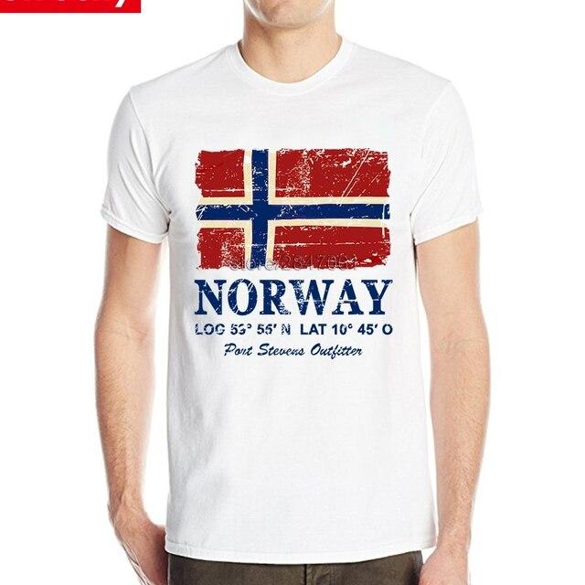Noruega Bandeira Do Vintage impresso Camisa masculina Dos Homens de Manga  Curta O Neck Tee Retro 8115d27938994