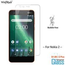 2 uds Protector de pantalla de vidrio Nokia 2 vidrio templado para Nokia 2 teléfono Protector de vidrio película para Nokia2 de WolfRule