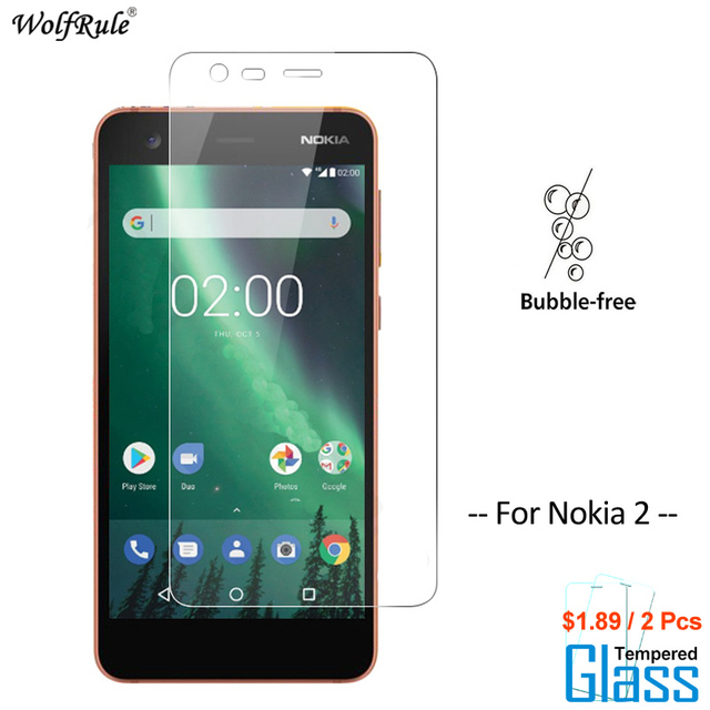 2Pcs מסך מגן זכוכית נוקיה 2 מזג זכוכית עבור Nokia 2 זכוכית מגן טלפון סרט עבור Nokia2 זכוכית wolfRule