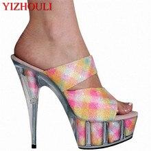 15 см высокий каблук/сандалии обувь для выступлений, принцесса блестки PU обувь, европейские и танцевальные туфли