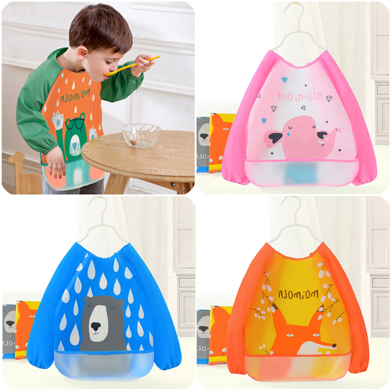 New Baby Cartoon Waterproof Bibs Stain Resistant Cape Bib Children Drawing Smock for girl and boy baby Children Washable Bib(China)