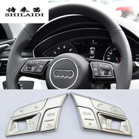 Car styling Car steering wheel buttons Trim Cover stickers for Audi Q3 Q5 A1 A3 8V A4 B9 B8 A5 A7 2018 Interior auto Accessories
