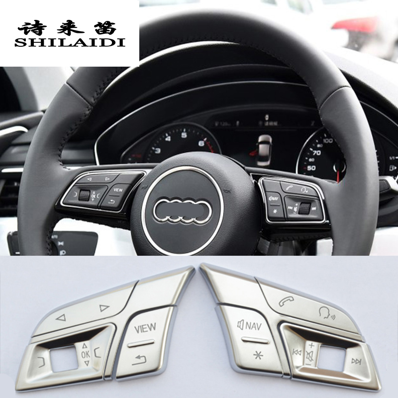 Estilo do carro botões de volante do carro guarnição capa adesivos para audi q3 q5 a1 a3 8 v a4 b9 b8 a5 a7 2018 interior acessórios automóveis