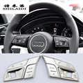 Etiqueta engomada de la cubierta del ajuste de los botones del volante del coche para Audi Q3 Q5 A1 A3 8V A4 B9 B8 A5 A7 2018 accesorios interiores del automóvil
