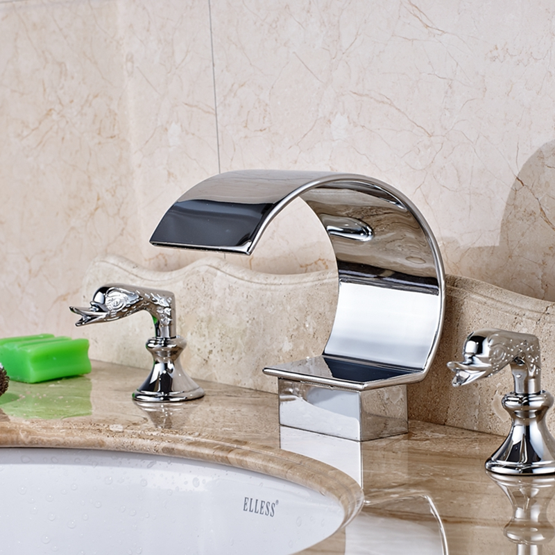 Waterfall Spout Bathroom Faucet: Luxury C Curved Widespread Waterfall Spout Bathroom Basin