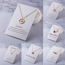 With Card Alloy Circle Ball Stars Necklace Infinity Love Horse Gold-color Shorts Clavicle Chains Fashion Necklaces & Pendants(China)