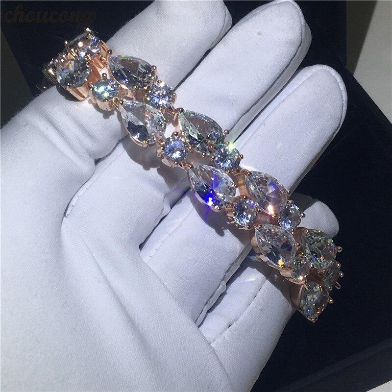 choucong Mona Lisa bracelet Rose Gold Filled Water drop AAAAA Zircon cz Party Wedding bracelets for women Hand Jewerly