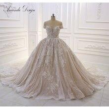 Amanda Design robe de mariee 2019 Off ramię koronki aplikacja błyszczące suknia ślubna