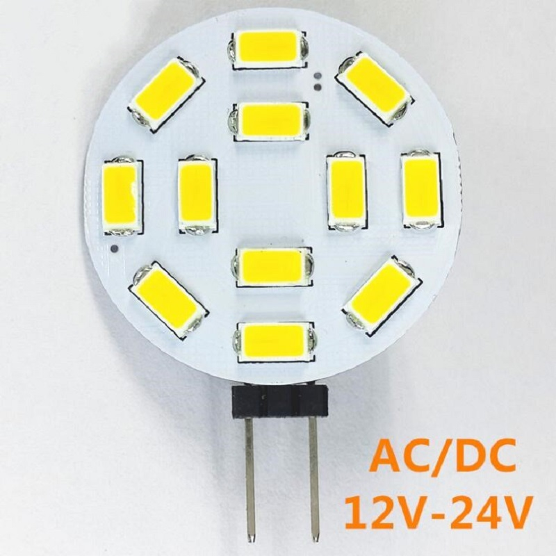 FR4 LED G4 5730 SMD Round Shape 12LED AC/DC 12V Chandelier Crystal Lamp Lighting 24V DC G4 Car Marine Camper RV Light Lamp Bulb sencart ba9s 3w 25lm 490nm 5730 smd led blue light car motorcycle lamp dc 12 16v 2pcs