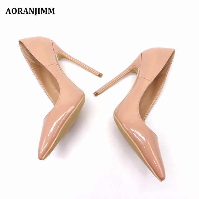 Free shipping real pic AORANJIMM claiss nude patent leather office lady OL style women lady 120mm high heel shoes pump 4