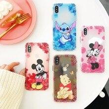 Cartoon Mickey Minnie Winnie Poohs Stitch Soft TPU Case For iPhone XS XR MAX Embossment X 6 6S 7 8 Plus