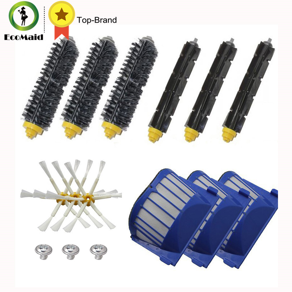 Aero Vac Filter & Bristle Brush & Flexible Beater Brush Side Brush Pack Kit for iRobot Roomba 600 Series Vacuum Cleaning Robots arm side brush yellow filter for irobot roomba 500 series replenishment kit for red and green cleaning heads