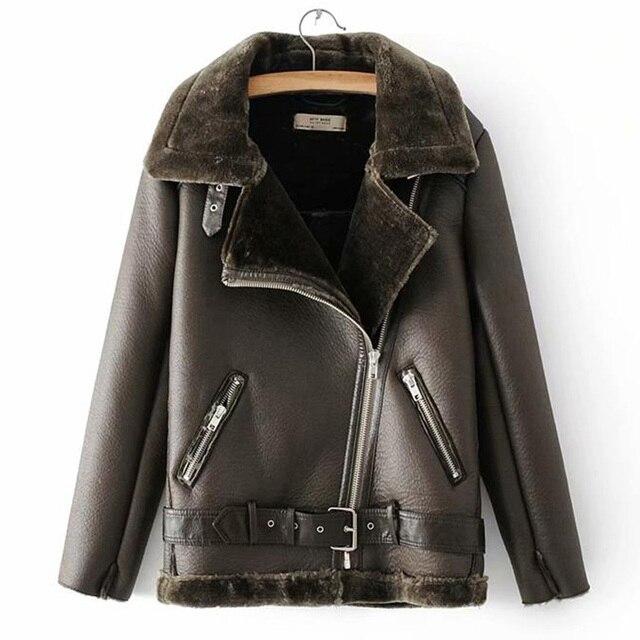 Warm women's winter motorcycle velvet jacket female short 3