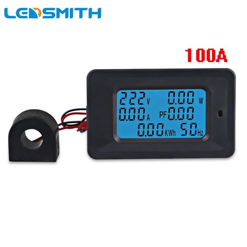 AC 85-250 V 100A 6 in 1 Multimeter Voltmeter Amperemeter Energie Leistungsfaktor Frequenzmesser Eingebaute Sensor Digital LCD
