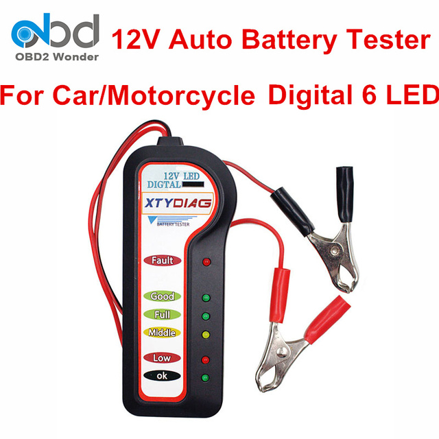 Portable Xtydiag Car Battery Voltage Tester 12v Automobile Alternator Checking Tool With 6 Led Lights For Motorcycle