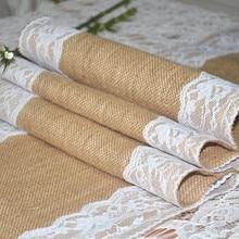 цена на jute table runner/ table runners for wedding/burlap table runner/lace table runner 50pcs Free Shipping