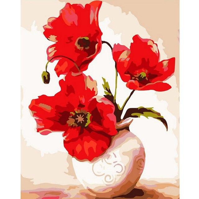 50X40 см DIY Живопись По Номерам Retangle Цветок Холст Масло Piantings Окраски Настенная Живопись в Искусстве Home Decor