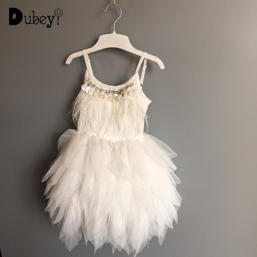 цена Fairy Children girls swan dance tutu dress toddler girls party feather ruffles princess sling dress fashion kids garments