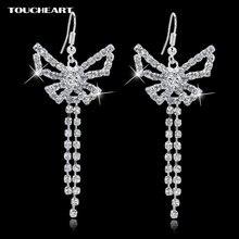 Женские серьги кисточки в виде снежинки с австрийским кристаллом
