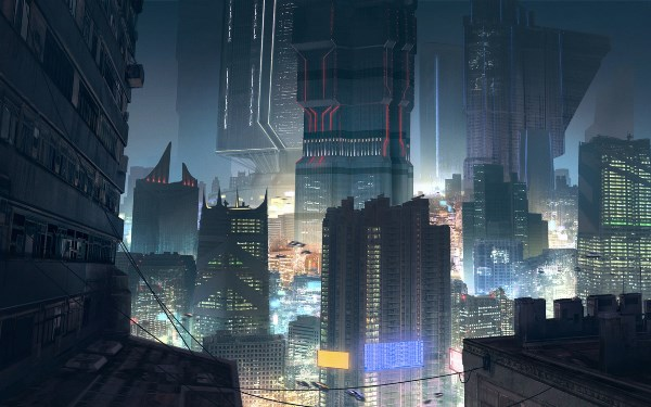 Cyberpunk City Skyscrapers Cityscape Nightscape Roof