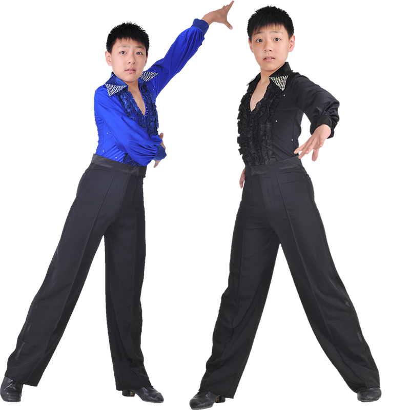 Children's Long Sleeve Ballroom Dance Costumes Latin Samba Tango Performance Shirt Leotard For Boys