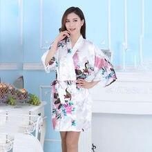 ed52040d0 14 colores blanco Kimono de las mujeres Sexy ropa de dormir ropa de estilo  japonés de boda vestido de novia Yukata de pavo real .