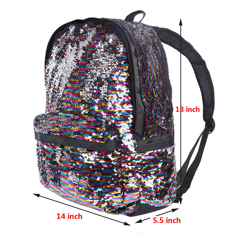 Fashion Unisex Dazzling Reversible Sparkly Sequin School Bag Shoulder Backpack Sparkly Lightweight Travel Bag for Girls and Boys