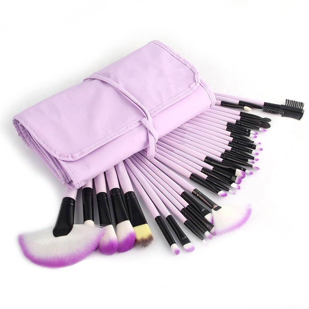 цена на 32Pcs Make up Brushes Set Kit Eyeliner Lip Powder Foundation Blusher Beauty Brushes Cosmetic Pincel Bag 5 Color Makeup Brushes