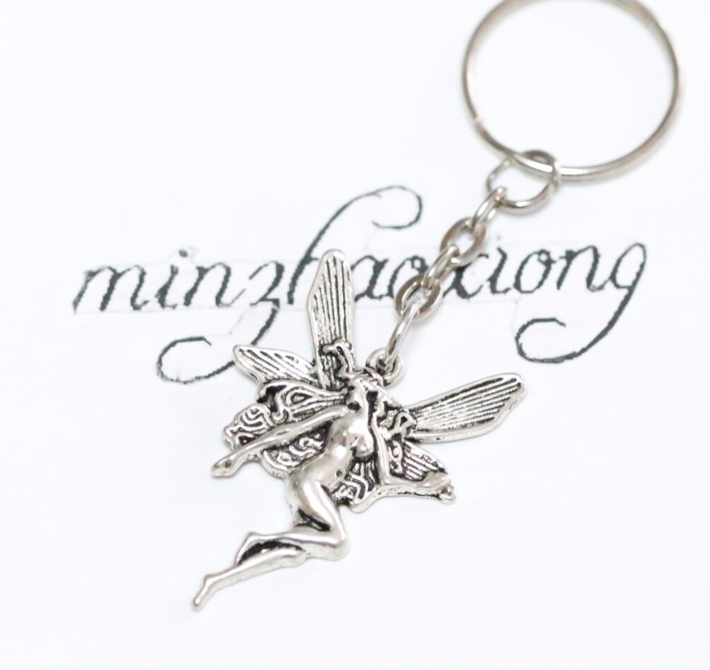 Ancient silver fairy angel wings charm pendant key ring chain keychain for car bag decorative jewelry
