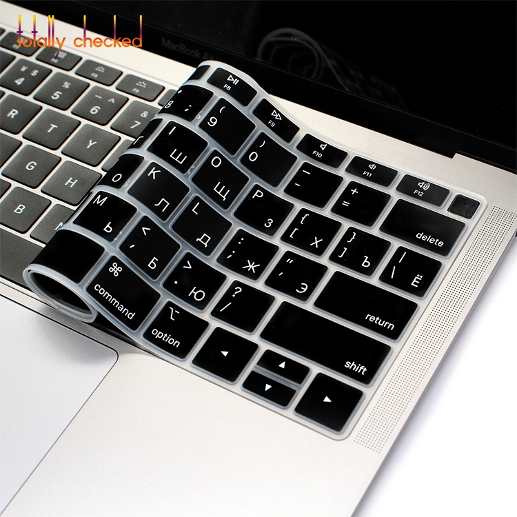 Silicone Russian English Compatible for Laptop Keyboard Letter Sticker Film Skin Cover Compatible for MacBook Pro Air 13 Keyboard Protective Cover