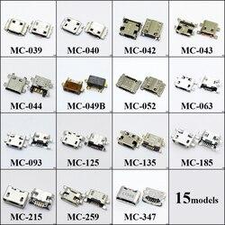 Venda quente modelos de 15 15 pcs 30 pcs Micro USB Jack Para Xiaomi Carregamento conector Soquete para Samsung Usb para huawei série.