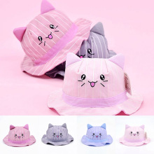 Fashion Cute Kids Bucket Hat Spring Summer Cartoon Cat Baby Girl Hats Children Infant Beach Sun Cap