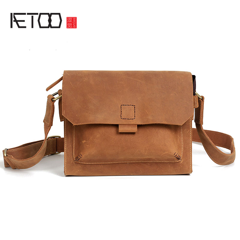 AETOO Men's head layer leather leisure Messenger bag crazy horse leather shoulder bag leather briefcase retro handmade bag aetoo spring and summer new leather handmade handmade first layer of planted tanned leather retro bag backpack bag
