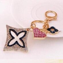 Charmcci High Quality Full Rhinestones Four clover Jewelry Keychain Women Key Holder Chain Ring Car llaveros bag pendant Charm