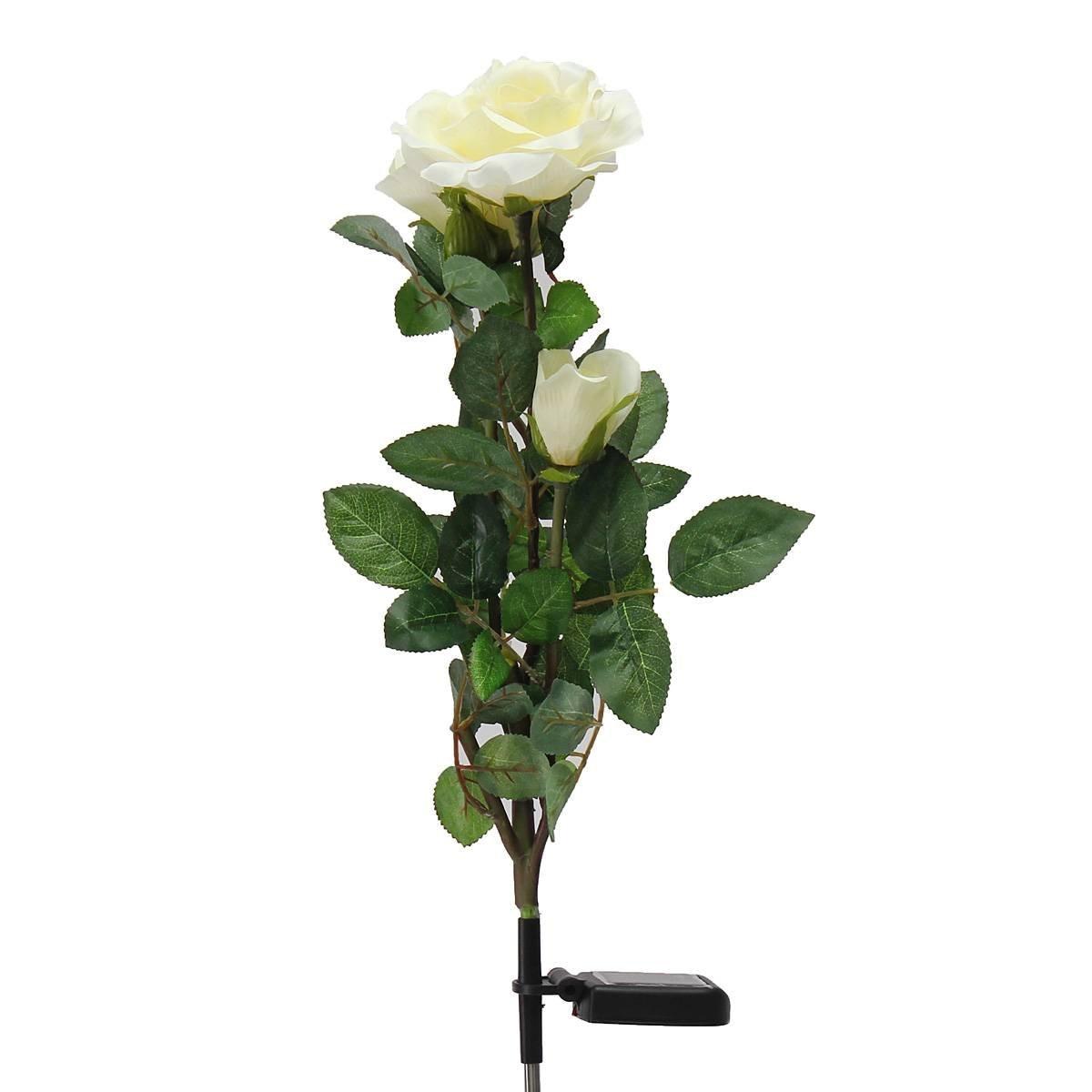 Solar Powered White 3 LED Rose Flower Lights Garden Outdoor Decorative Decor Landscape Rose Light Path Lamp