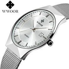 WWOOR Watch Men Fashion Brand Men's Watches Quartz Ultra Thin Steel Mesh Strap Casual Sport Men Watch Black Relogio Masculino