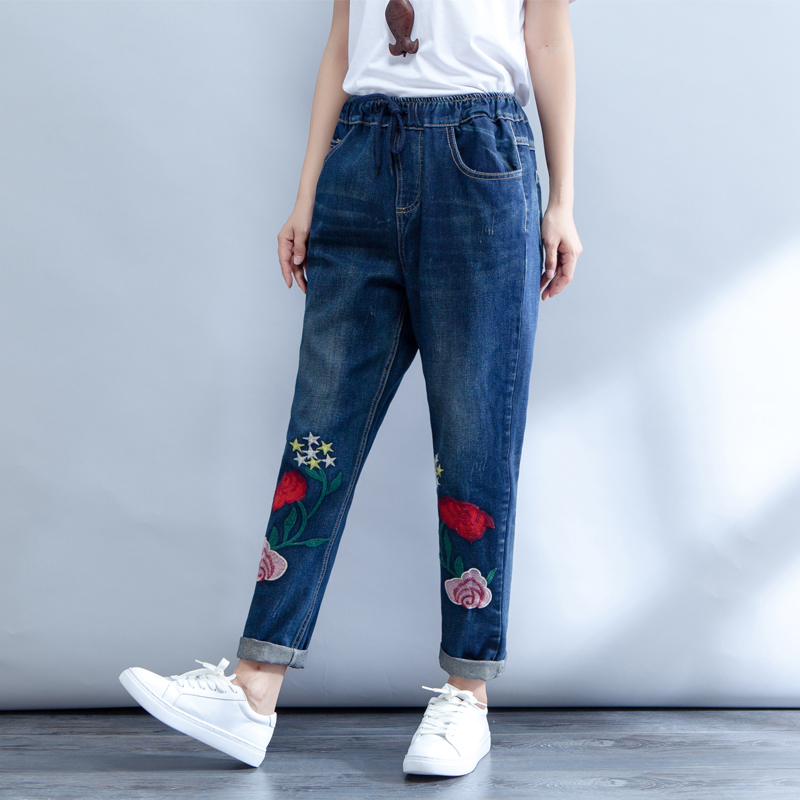 Denim Trousers Women 2018 New Spring Flower Embroidered jeans Woman Plus Size Elastic Waist Pants Loose harem jeans M-3XL