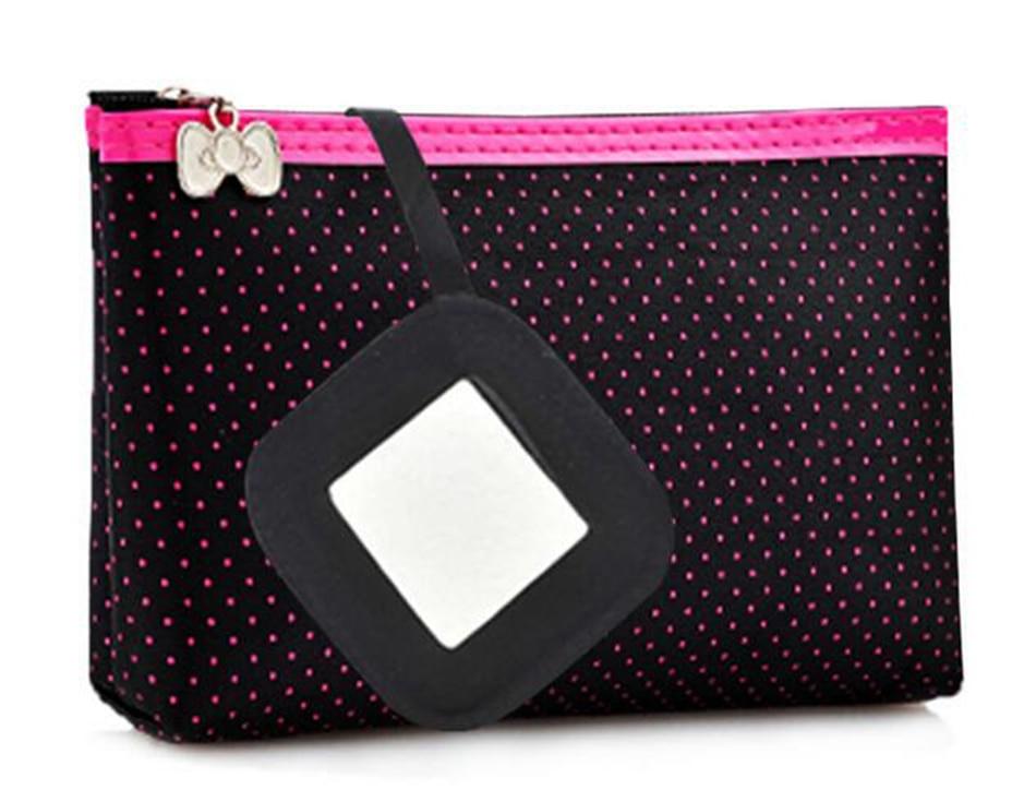 Cosmetic Bag  Dots Pattern Portable Fashion Function Beauty Travel Make Up Bag Makeup Wash Kit Case-15