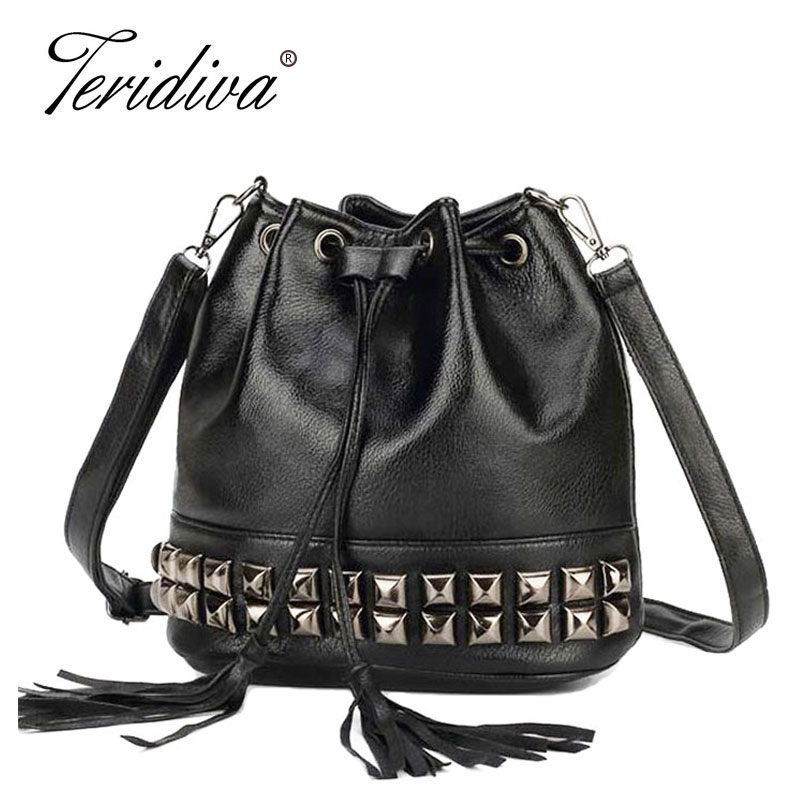 цены  Teridiva High Quality Handbags Small Tassel Handbag Crossbody Bucket Bags for Women Shoulder Bag Rivet Messenger Bag Bolsa