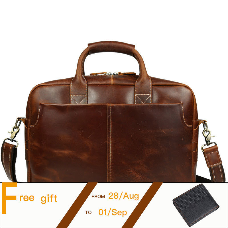 Men Leather Briefcase Retro Natural Cowhide Business Handbag Fit For 16 Inch Laptop Bag Coffee PR561019 top layer genuine cowhide coffee classic men s leather briefcase business handbag fit for 15 laptop bag pr577247b 1