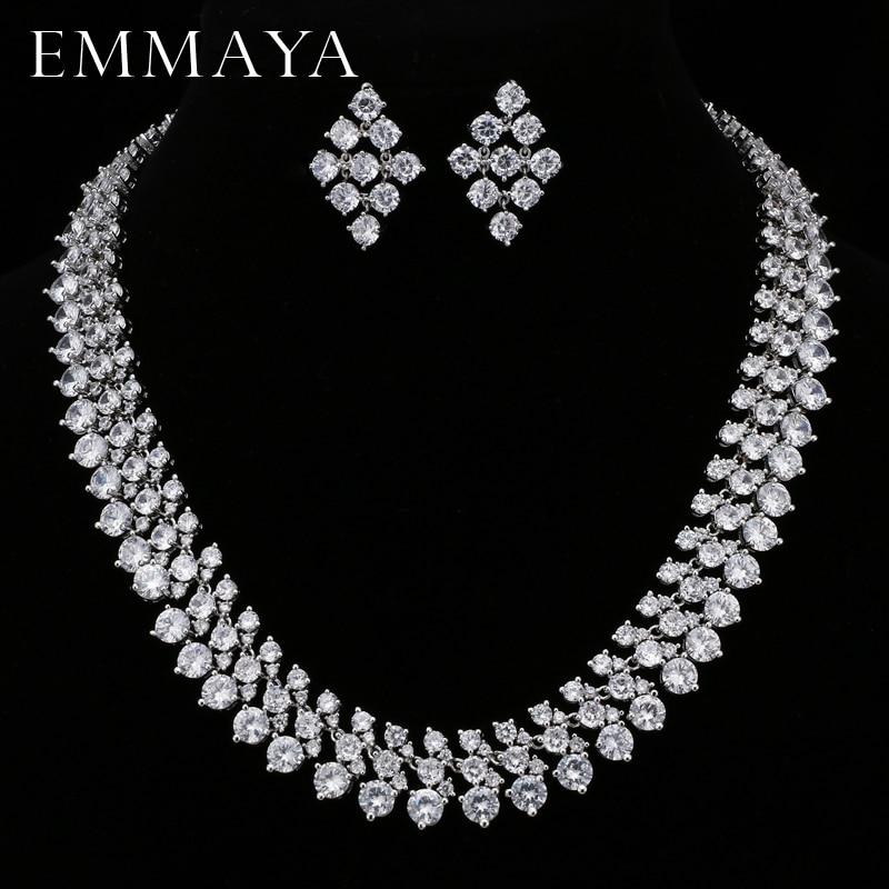 EMMAYA Jewelry-Sets Necklace Rhinestone Luxury Wedding-Engagement Silver-Color Bridal