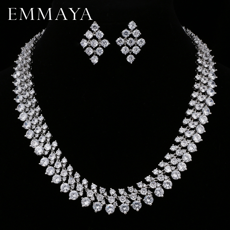 EMMAYA Luxury Bridal Jewelry Sets Silver Color Rhinestone Cz Necklace Wedding Engagement Jewelry Sets for Women emmaya luxury freshwater pearl bridal jewelry sets silver color earring necklace set wedding jewelry parure bijoux femme