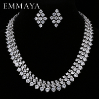 EMMAYA Luxury Bridal Jewelry Sets Silver Color Rhinestone Cz Necklace Wedding Engagement Jewelry Sets for Women
