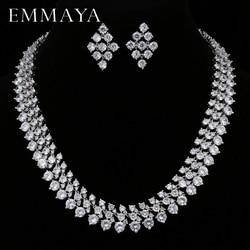 EMMAYA Luxury Bridal Jewelry Sets Silver Color Rhinestone Cz Necklace  Wedding Engagement Jewelry Sets for Women 164755336b80