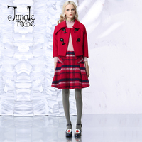 Jungle Me 2017 Spring Winter New England Style Black Red Plaid Short Skirts High Waist A