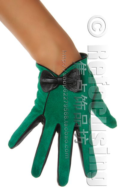 c8f936467 Vintage women's bow pig pigskin suede genuine leather gloves Women green  bow leather gloves