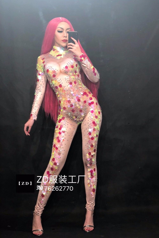 Humorous Multicolor Sequins Rhinestones Mermaid Design Women Jumpsuit Nightclub Singer Dancer Celebrate Stretch Clothes Rompers Costumes Jumpsuits