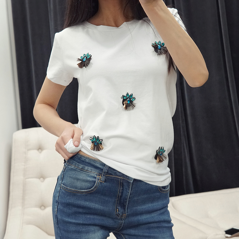 Designer T shirts for Women Beading 3D Diamonds Harajuku Summer Top Tee Female White Army Green