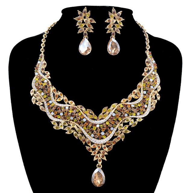 6d2b0643d60c84 India style crystal Delicate Jewelry sets women wedding Dress decoration  necklace earrings Bridal party jewellery accessories